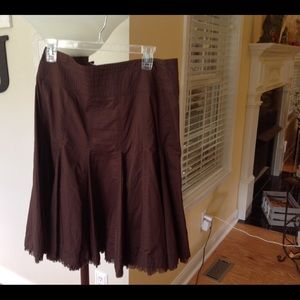 CAbi Brown Pleated Skirt